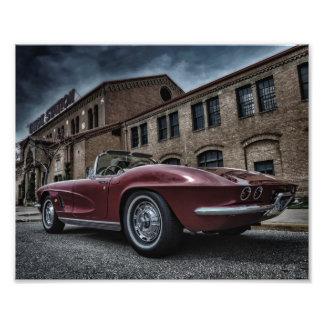 Vintage chevy corvette under skies photo print