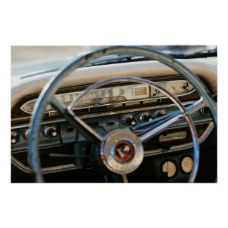 Vintage Chevy steering wheel and dashboard Poster
