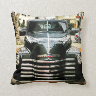 Vintage Chevy Truck Pillow With Charcoal Grey Back