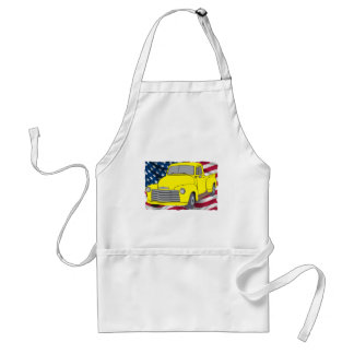Vintage Chevy Truck with American Flag Adult Apron