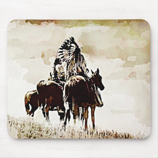 Vintage Cheyenne Warriors on Horseback mouse pad