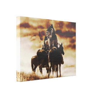 Vintage Cheyenne Warriors Wrapped Canvas Print