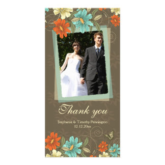 Vintage chic aqua orange cream wedding thank you picture card