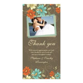 Vintage chic aqua orange cream wedding thank you photo cards