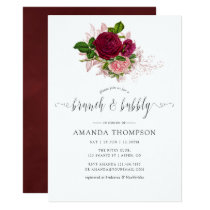 Vintage Chic Blush and Burgundy Brunch and Bubbly Invitation