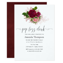 Vintage Chic Blush and Burgundy Pop Fizz Clink Invitation