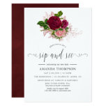 Vintage Chic Blush and Burgundy Sip and See Invitation
