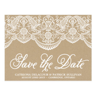 Vintage Chic Brocade Lace Save the Date Postcard