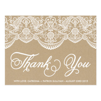 Vintage Chic Brocade Lace Thank You Postcard