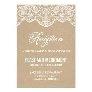 Vintage Chic Brocade Lace Wedding Reception Card