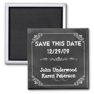 Vintage Chic Chalkboard Look Wedding Save the Date 2 Inch Square Magnet