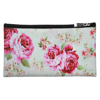Vintage Chic Cottage Pink Rose Floral Cosmetics Bags
