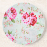 "Vintage Chic Cottage Pink Rose Floral Coaster<br><div class=""desc"">A beautiful shabby chic vintage cottage pink roses set on a pale blue background flower floral pattern feminine girly sandstone drink coaster</div>"