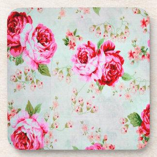 Vintage Chic Cottage Pink Rose Floral Coaster