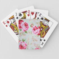 Vintage Chic Cottage Pink Rose Floral Playing Cards