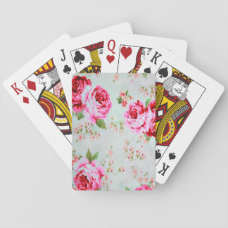 Vintage Chic Cottage Pink Rose Floral Playing Cards