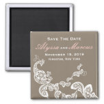 Vintage Chic Elegant Floral Peacock Save The Date 2 Inch Square Magnet