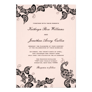 Vintage Chic Floral Black Peacock Wedding Invite