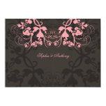 "Vintage Chic Floral Flourish Pink Wedding Invite 5"" X 7"" Invitation Card"