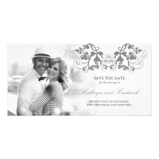 Vintage Chic Floral Flourish Save The Date Wedding Card