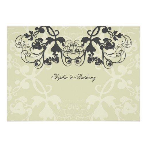 Vintage Chic Floral Flourish Wedding Invitation Personalized Invites
