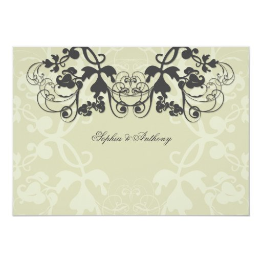 "Vintage Chic Floral Flourish Wedding Invitation 5"" X 7"" Invitation Card"