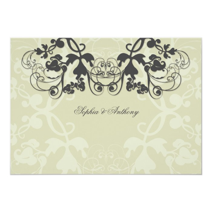 Vintage Chic Floral Flourish Wedding Invitation