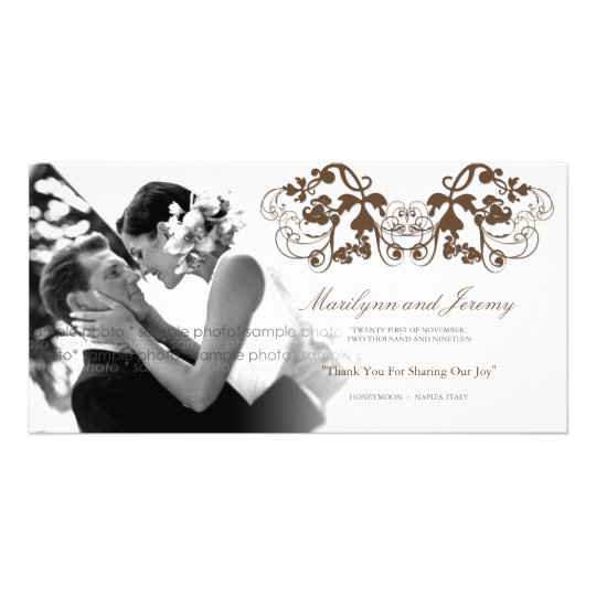 Vintage Chic Floral Flourish Wedding Thank You Card