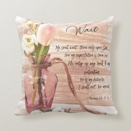 Vintage Chic Floral: Psalms Wait Bible Verse Throw Pillow