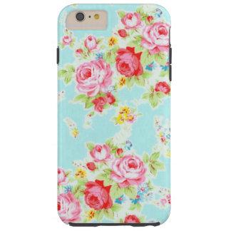 Vintage chic floral roses blue rose flowers shabby tough iPhone 6 plus case