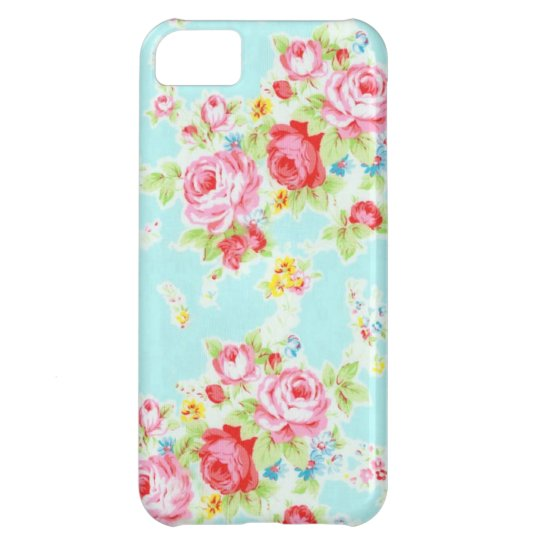 Vintage chic floral roses blue rose flowers shabby iPhone 5C cover