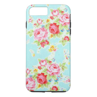 Vintage chic floral roses blue rose flowers shabby iPhone 7 plus case