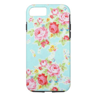 Vintage chic floral roses blue rose flowers shabby iPhone 8/7 case