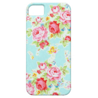 Vintage chic floral roses blue rose flowers shabby iPhone SE/5/5s case