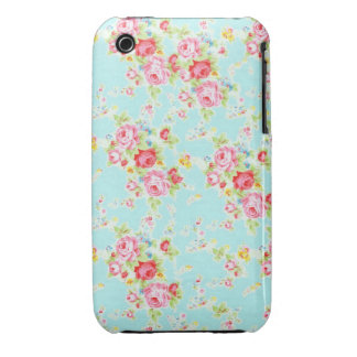 Vintage chic floral roses blue shabby rose flowers iPhone 3 covers