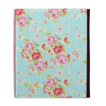Vintage chic floral roses blue shabby rose flowers iPad folio case