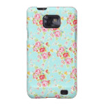 Vintage chic floral roses blue shabby rose flowers galaxy s2 case