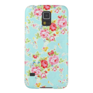 Vintage chic floral roses blue shabby rose flowers galaxy s5 cover