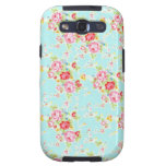 Vintage chic floral roses blue shabby rose flowers samsung galaxy s3 cover
