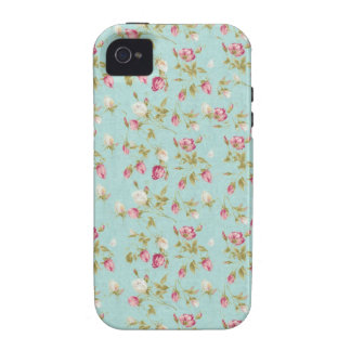 Vintage chic floral roses blue shabby rose flowers Case-Mate iPhone 4 covers