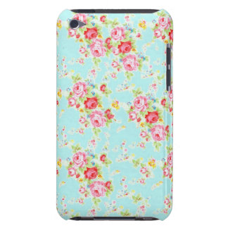 Vintage chic floral roses blue shabby rose flowers Case-Mate iPod touch case