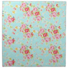 Vintage chic floral roses blue shabby rose flowers cloth napkin