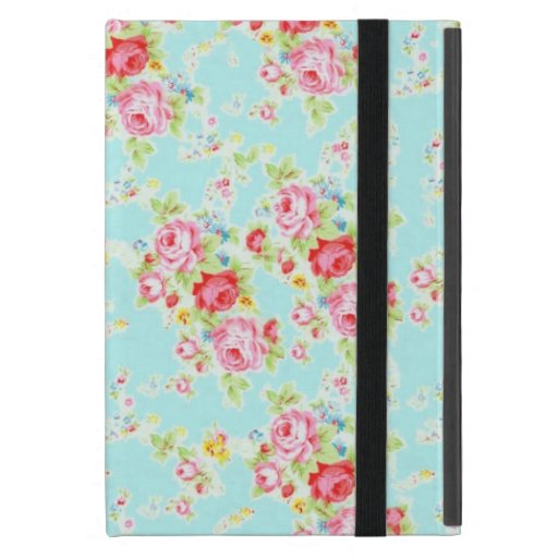 Vintage chic floral roses blue shabby rose flowers cover for iPad mini