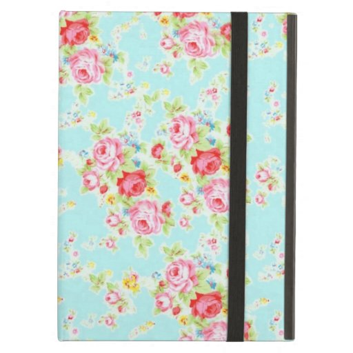 Vintage chic floral roses blue shabby rose flowers iPad air covers