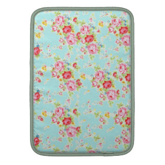 Vintage chic floral roses blue shabby rose flowers sleeves for MacBook air