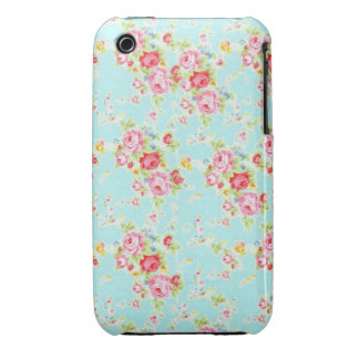Vintage chic floral roses blue shabby rose flowers iPhone 3 Case-Mate case