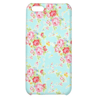 Vintage chic floral roses blue shabby rose flowers iPhone 5C case