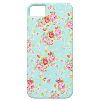 Vintage chic floral roses blue shabby rose flowers iPhone SE/5/5s case