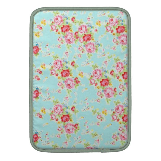Vintage chic floral roses blue shabby rose flowers MacBook sleeve