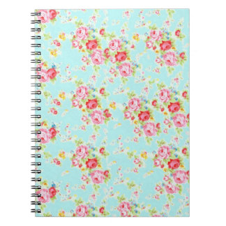 Vintage chic floral roses blue shabby rose flowers notebook